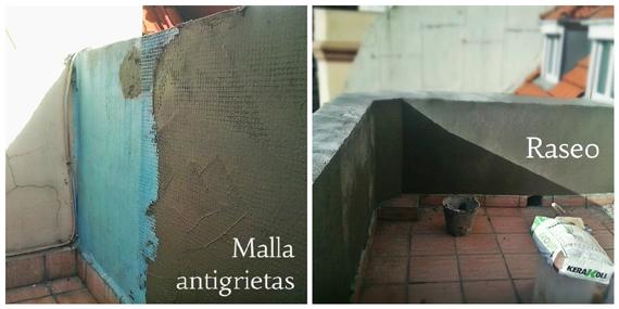 Malla antigrietas y mortero de reparación